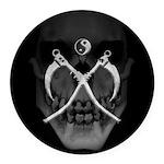 Grmdrpr Yinyang Scythes Skull Round Car Magnet