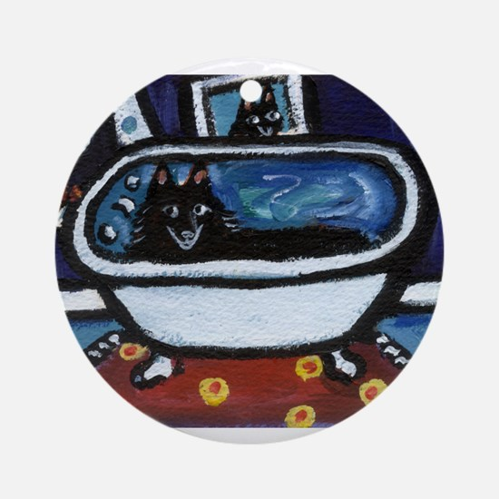 Schipperke bath moon smile Ornament (Round)