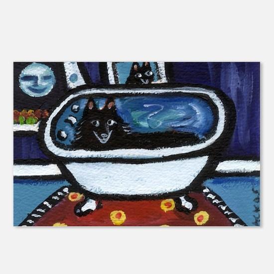 Schipperke bath moon smile Postcards (Package of 8