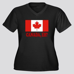 Canada, Eh? Women's Plus Size V-Neck Dark T-Shirt