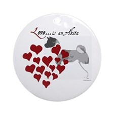 Love Is An Akita Valentine Ornament (Round)