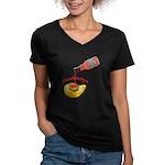 Snackintyre Women's V-Neck Dark T-Shirt