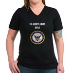 USS ALBERT W. GRANT Women's V-Neck Dark T-Shirt