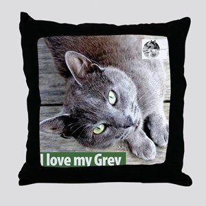 Grey Cat Throw Pillow