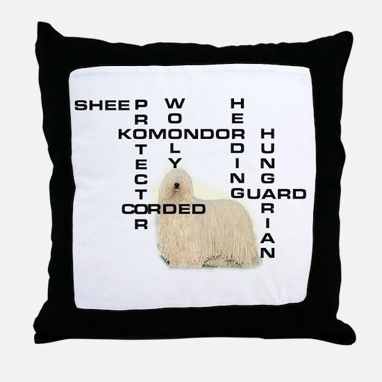 Komondor crossword Throw Pillow
