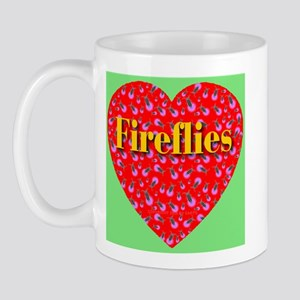 Fireflies Golden Ruby Heart Mug