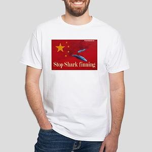 White T-Shirt anti shark fin soup