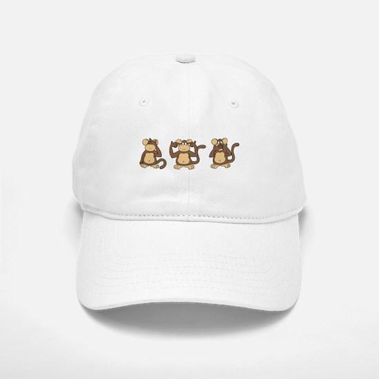 Three Wise Monkeys Baseball Baseball Cap