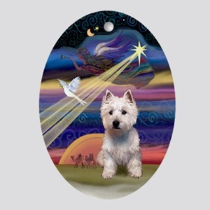 West Highland Terrier Xmas Star Oval Ornament