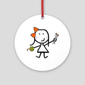 Girl & Knitting Ornament (Round)