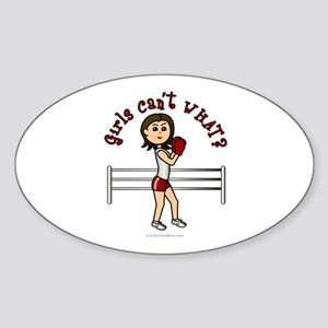 Light Red Boxer Oval Sticker