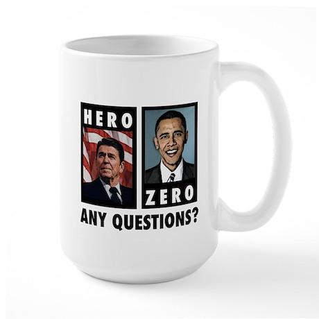 Reagan HERO, Obama ZERO. Any Large Mug