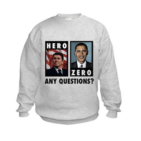Reagan HERO, Obama ZERO. Any Kids Sweatshirt
