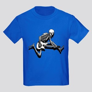 Skeleton Guitarist Jump Kids Dark T-Shirt