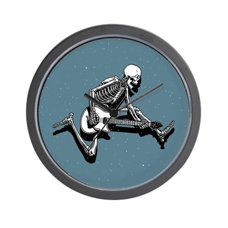 Skeleton Guitarist Jump Wall Clock