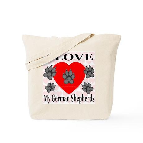 I Love My German Shepherds Tote Bag