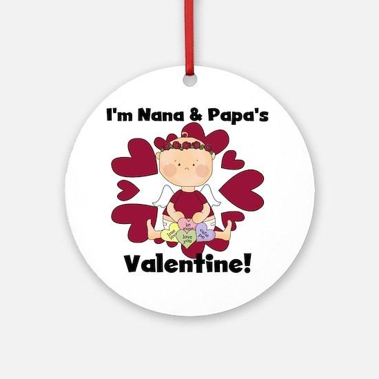 Girl Nana Papa's Valentine Ornament (Round)
