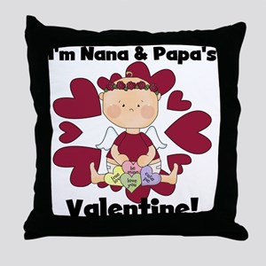 Girl Nana Papa's Valentine Throw Pillow