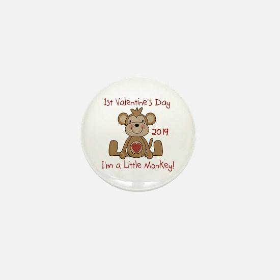 Monkey 1st Valentine Day Mini Button