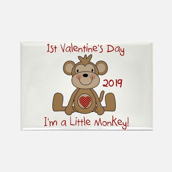 Monkey 1st Valentine Da Rectangle Magnet (10 pack)