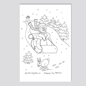 Snowman Sleigh Postcards (Package of 8)