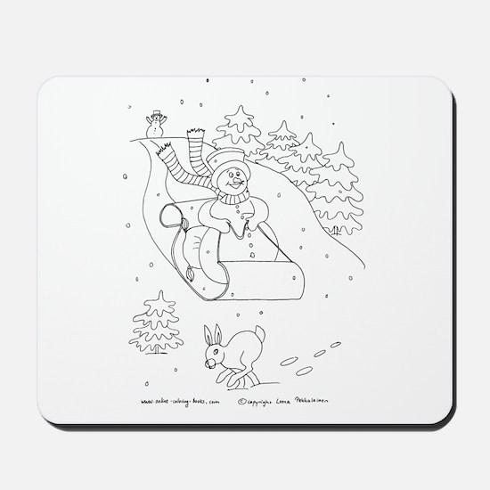 Snowman Sleigh Mousepad