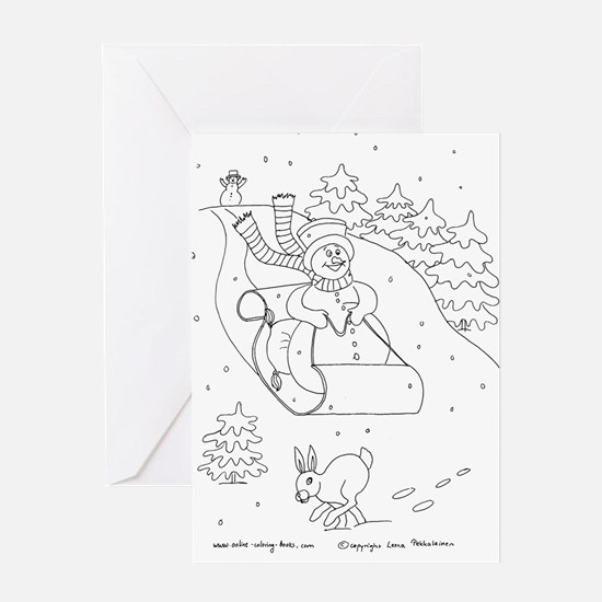 Snowman Sleigh Greeting Card