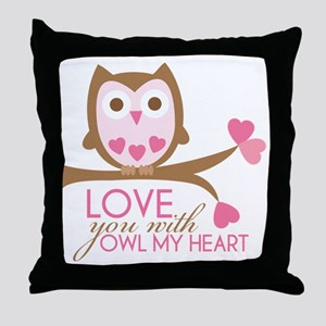Love you with owl my heart Throw Pillow