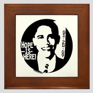 Obama Hope is Here Framed Tile