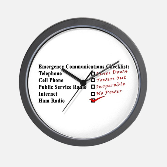 Emergency Comm Checklist Wall Clock
