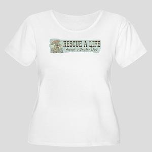 Rescue Dog Quote Women's Plus Size Scoop Neck T-Sh