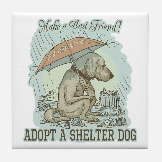 Best Friend Rescue Dog Tile Coaster