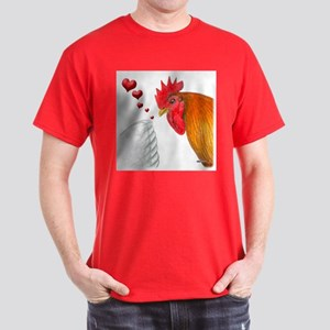 Valentine Rooster in Love Dark T-Shirt