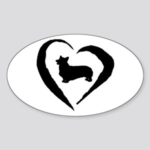 Pembroke Heart Oval Sticker