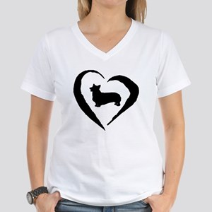 Pembroke Heart Women's V-Neck T-Shirt