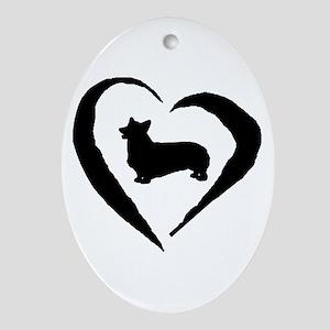 Pembroke Heart Oval Ornament