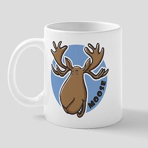 Cartoon Moose Blue Mug