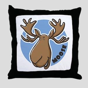 Cartoon Moose Blue Throw Pillow