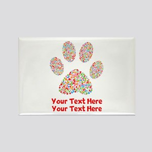 Dog Paws Print Colorful Rectangle Magnet