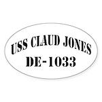 USS CLAUD JONES Sticker (Oval 50 pk)