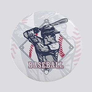Retro Baseball Batter Ornament (Round)