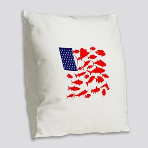 FREEDOM FISH Burlap Throw Pillow