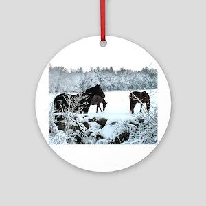 Snow Horses Ornament (Round)