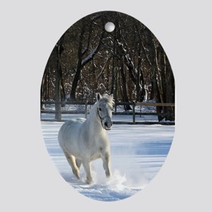 Snow Horse Oval Ornament
