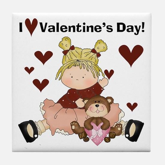 I Love Valentine's Day Tile Coaster