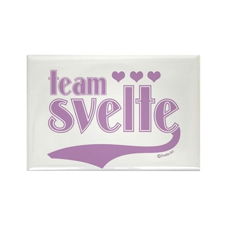 Team Svelte Lilac Hearts Rectangle Magnet (100 pac