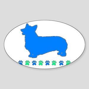 Pembroke Paws Oval Sticker