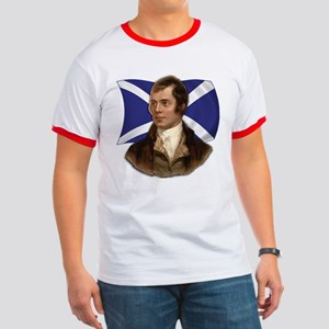 Robert Burns with Scottish Flag Ringer T