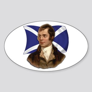 Robert Burns with Scottish Flag Sticker (Oval)