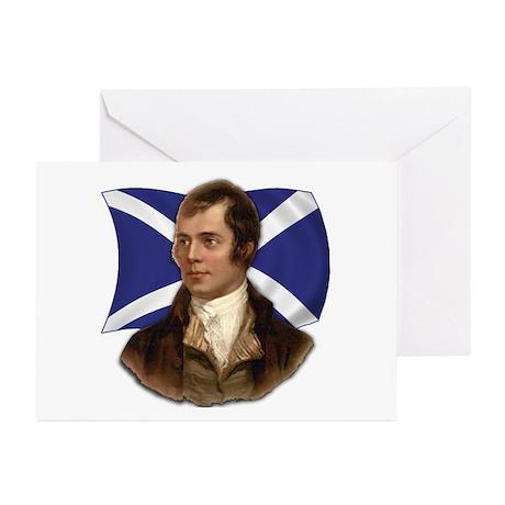 Robert Burns with Scottish Flag Greeting Cards (Pk